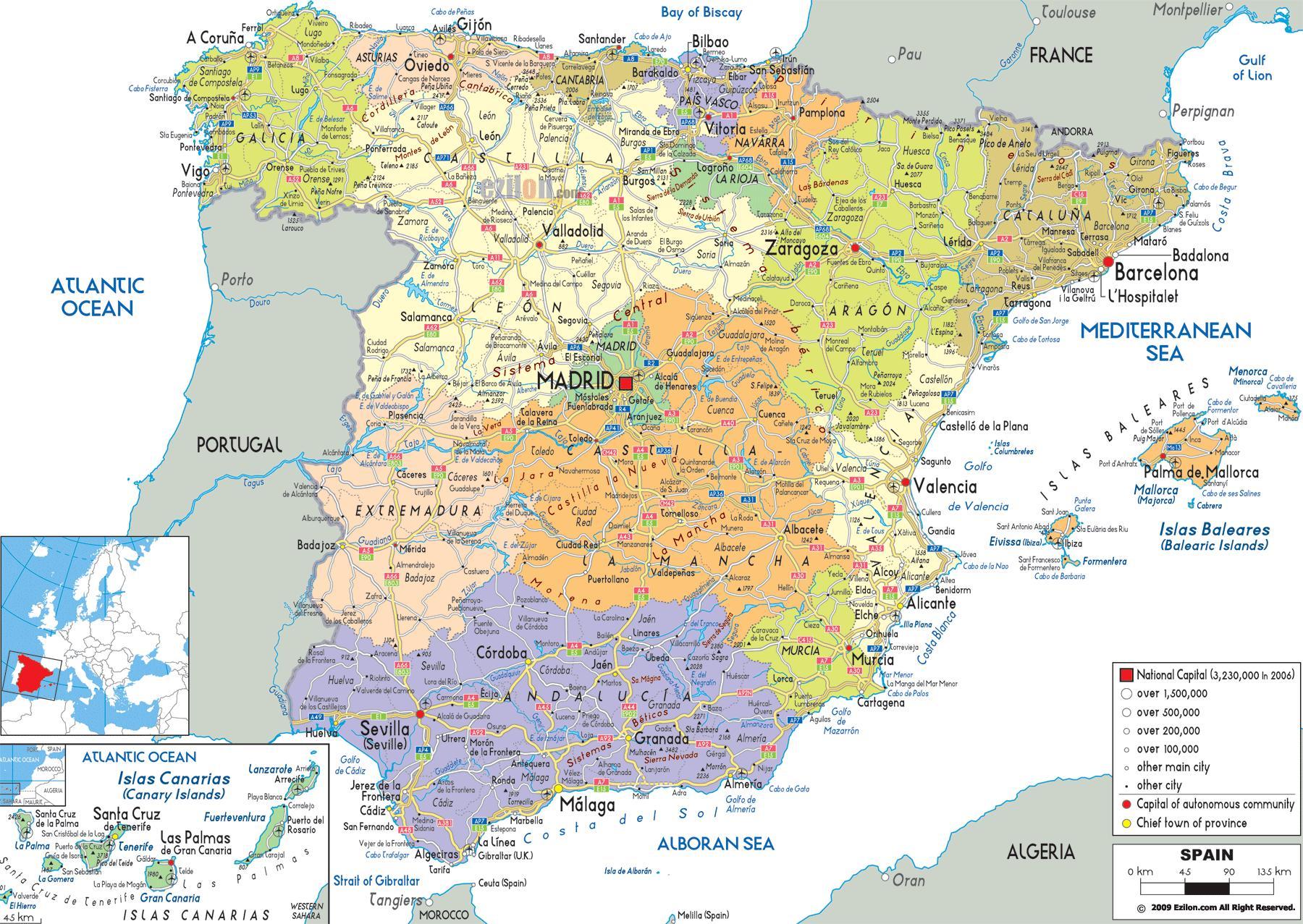 Spanien Regionen Karte.Detaillierte Karte Von Nord Spanien Nord Spanien Karte Regionen