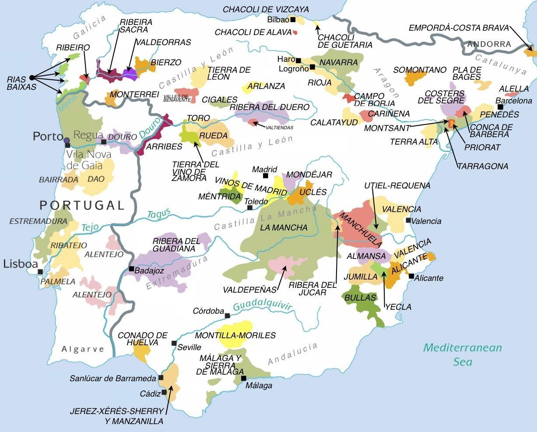 Spanien Regionen Karte.Karte Der Weinregionen In Spanien Stadtplan Von Spanien Wein