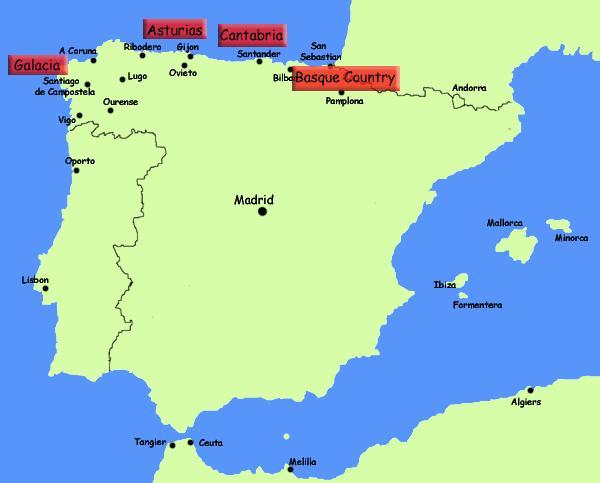Spanien Karte Küsten.Karte Von Norden Spaniens Küste Norden Spaniens Resorts Karte