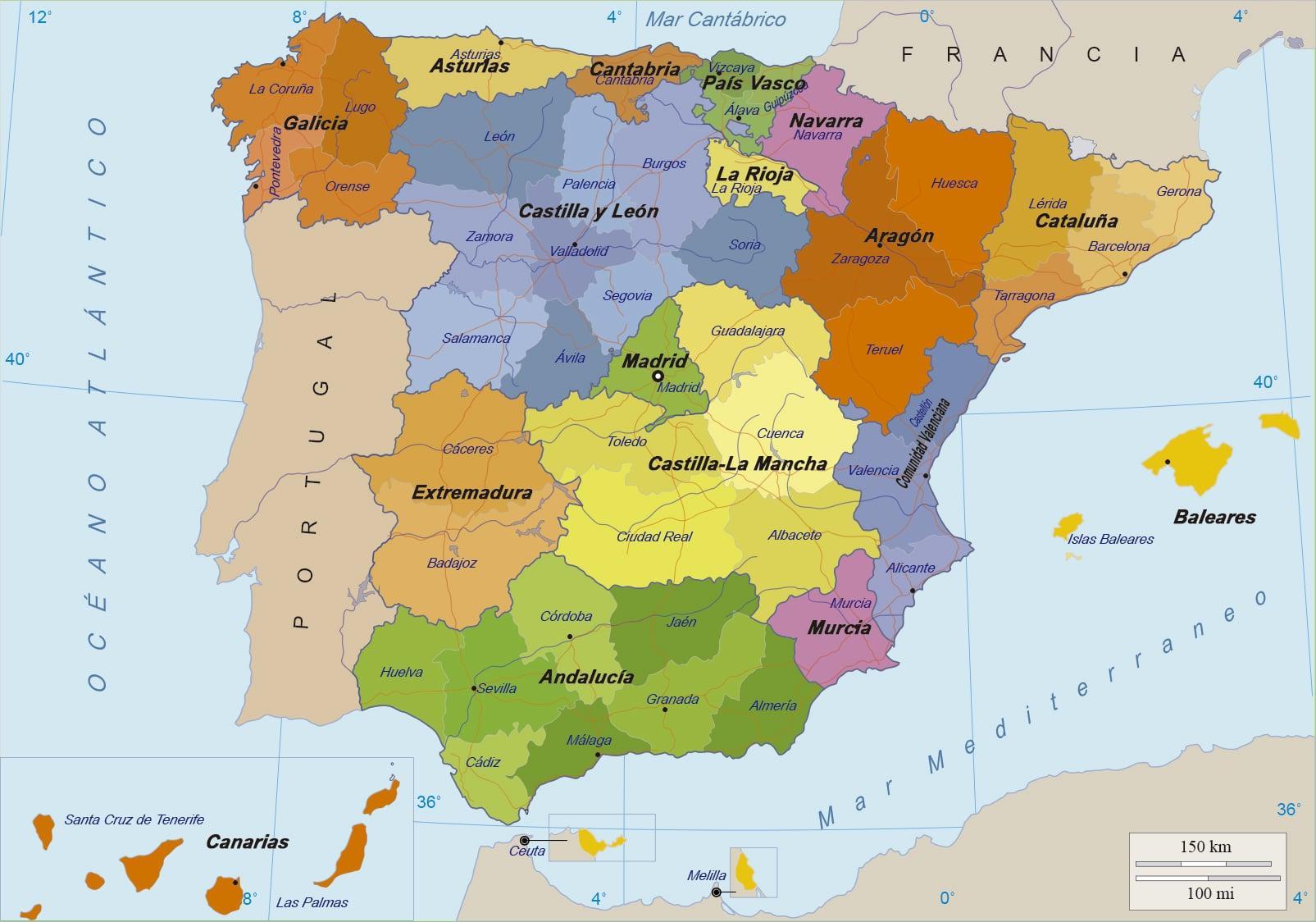Karte Von Spanien Und Der Inseln Stadtplan Von Spanien Und Seine