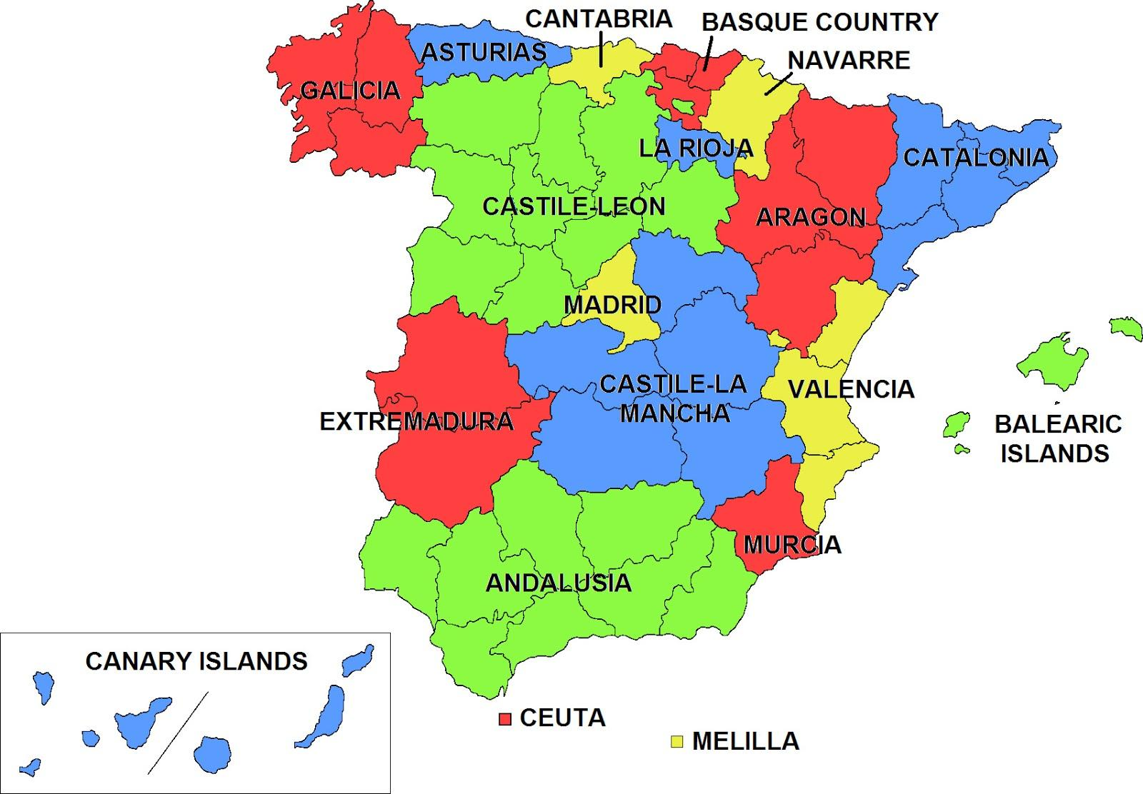 Autonome Regionen Spanien Karte.Spanien Autonome Gemeinschaften Karte Karte Von Spanien