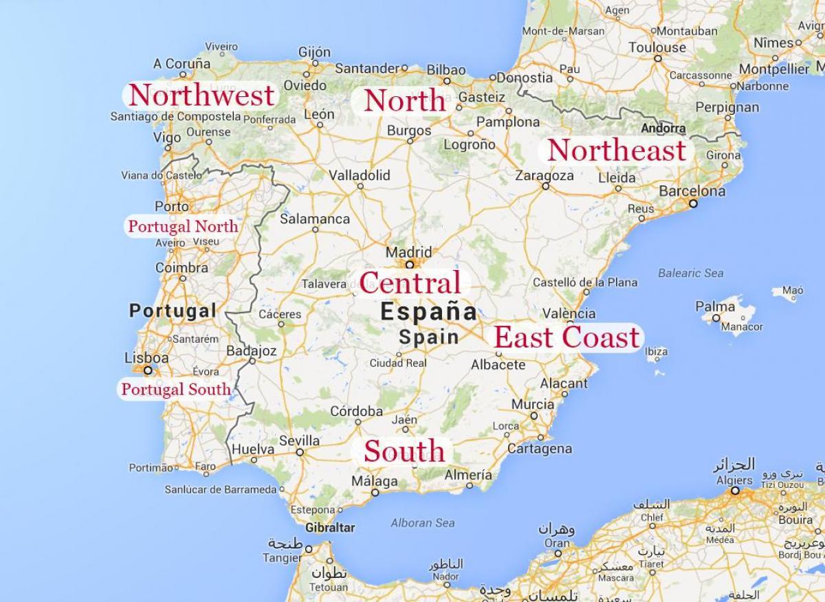 Spanien Karte Küsten.Karte Von Nordost Spanien Karte Von Nord Osten Spaniens Küste Süd