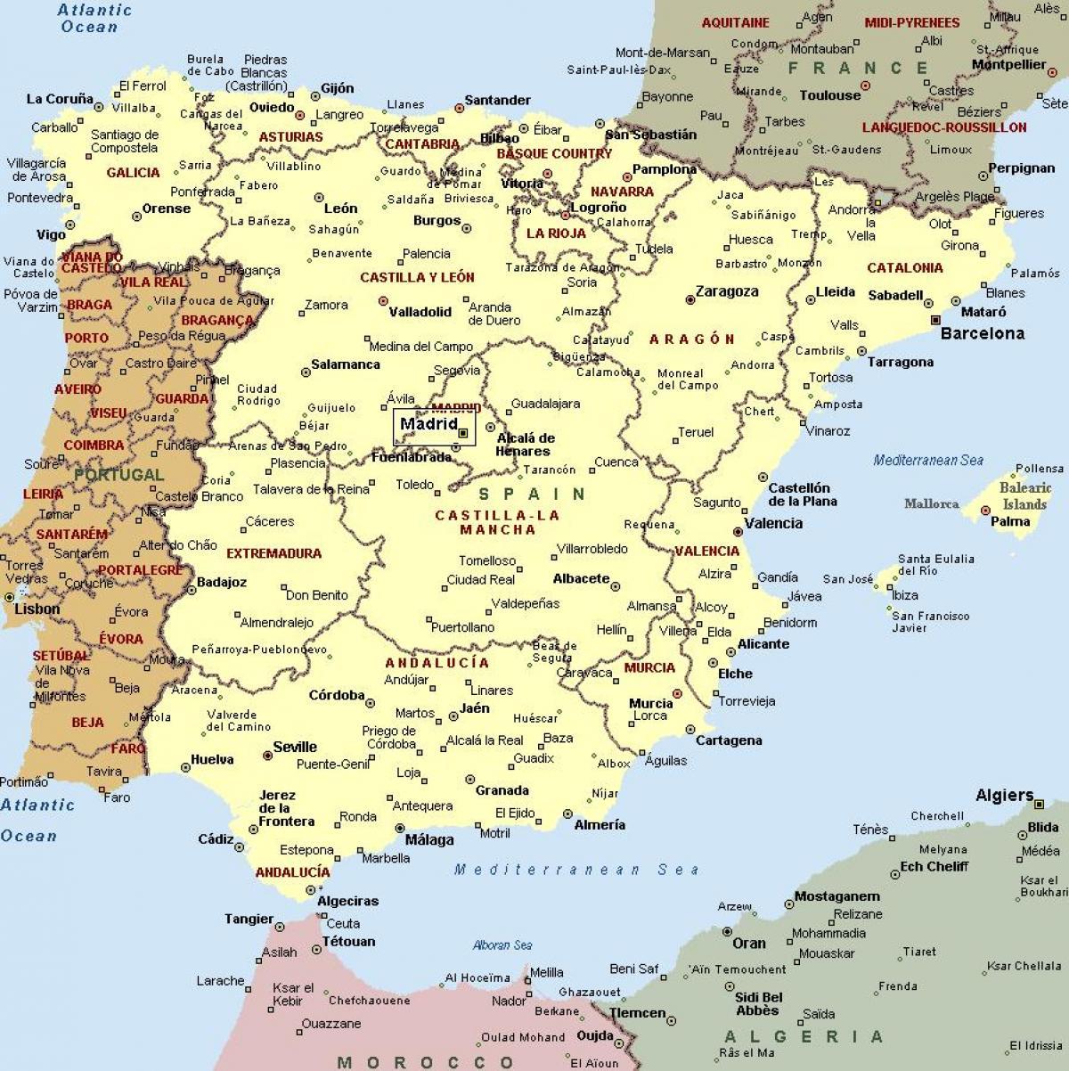 Karte Von Europa Mit Städten.Karte Von Spanien Mit Den Städten Karte Von Spanien Und Städte