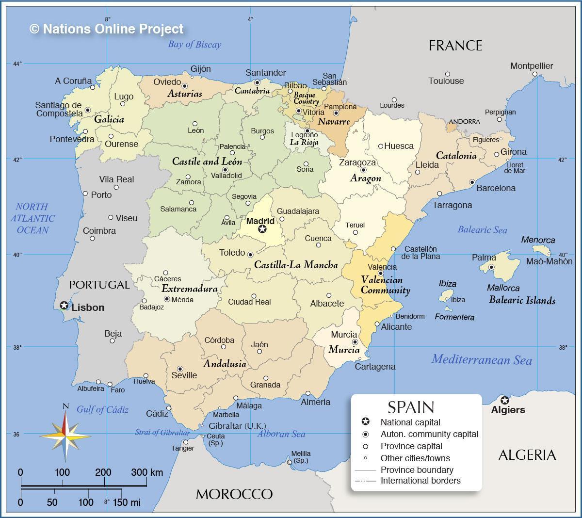 Spanien Karte Regionen Karte Von Spanien Mit Regionen Europa