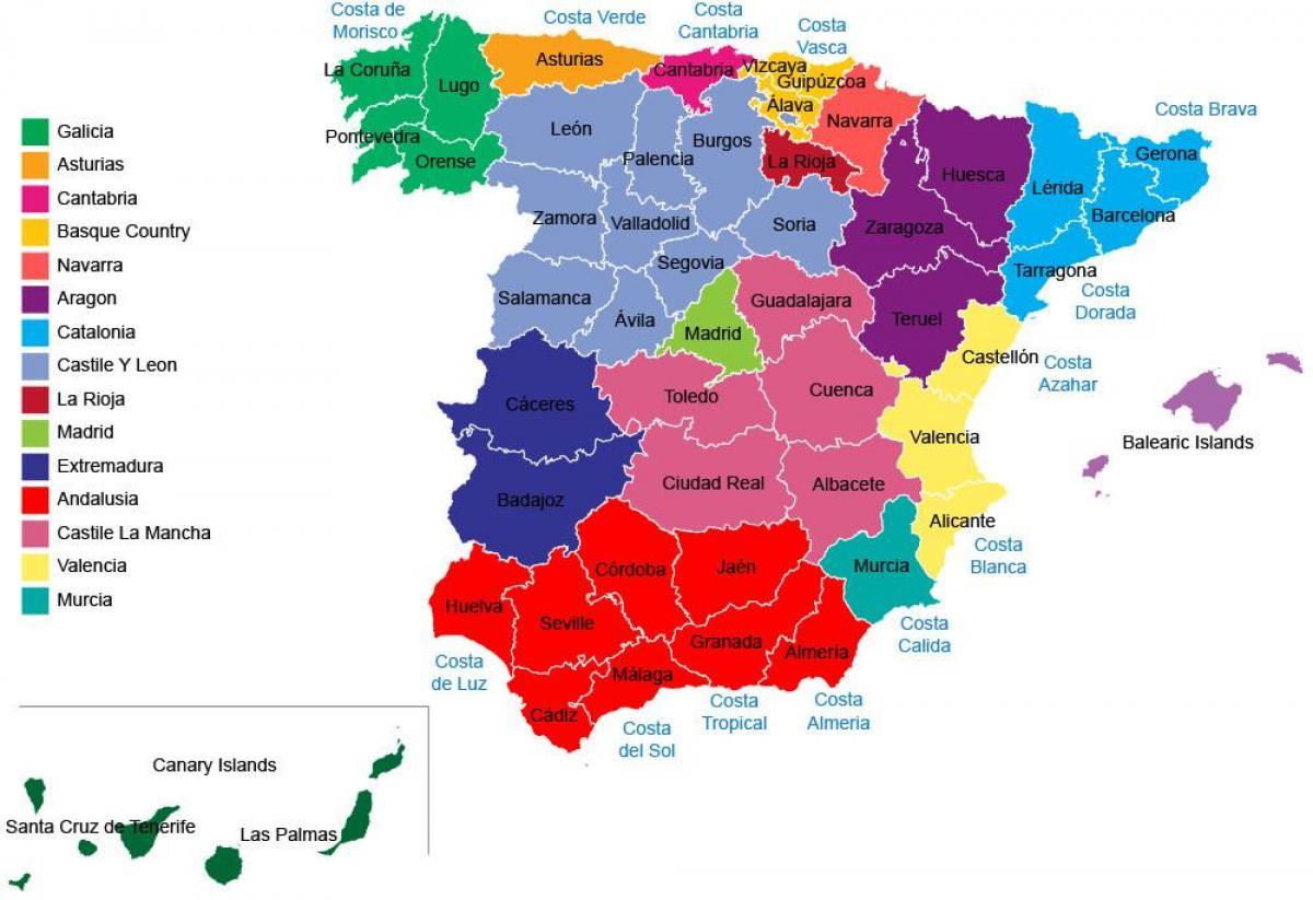 Spanien Regionen Karte.Spanien Provinzen Landkarte Spanien Karte Regionen Provinzen