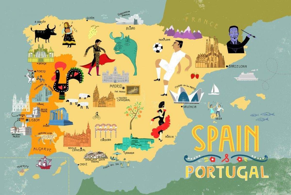 Karte Von Europa Mit Städten.Spanien Reise Karte Touristische Landkarte Spanien Städte Europa
